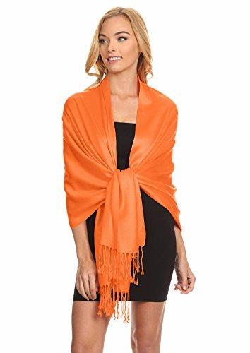 Simlu Womens Scarfs Silky Pashmina Shawl Wrap Scarves for Women Stole Shawls Orange One (Orange Wrap)