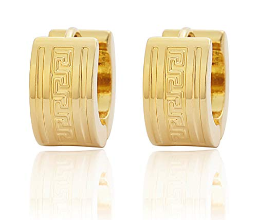 - Edforce Stainless Steel Greek Key Wall Pattern Huggie Hoop Earrings (Gold)