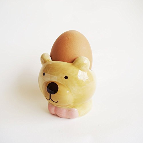 Egg Cup Holder Soft or Hard-Boiled Egg Breakfast For Tabletop Decor,Baby Toddler Small Feeding Bowl,Collectables Ceramic (Bear-B)