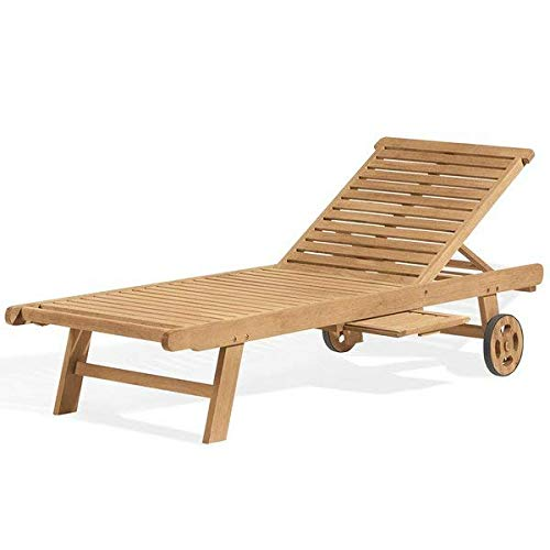Highland Dunes Reclining Natural Wood Chaise Lounge with Wheels + Free Basic Design Concepts Expert Guide