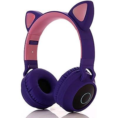 HDJX Wireless cat ear luminous earphones  headphone Bluetooth LED light earphones  subwoofer wireless earphones  music earphones  suitable for gaming  pc  smartphone-d