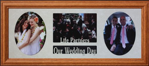 8x20 LIFE PARTNERS ~ OUR WEDDING DAY COLLAGE FRAME ~ Holds 3-5''x7'' Photos ~ WEDDING GIFT for GAY/LESBIAN Couple by PersonalizedbyJoyceBoyce.com