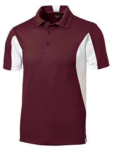 Joe's USA(tm - Moisture Wicking Side Blocked Micropique Polo-Maroon/White-XL
