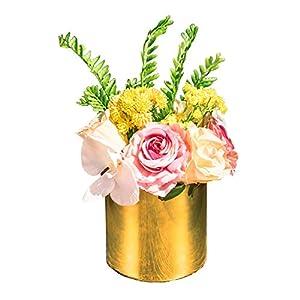 Billibobbi, Artificial Flowers with Vase, Fake Phalaenopsis Rose with Golden Vase, Faux Flower Arrangements for Home Decor, Golden, Medium