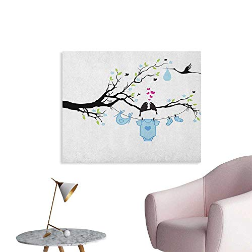 Anzhutwelve Gender Reveal Photographic Wallpaper Love Birds on The Tree and Child Clothes Hanging Design Wall Poster Lime Green Pale Blue Black W48 xL32