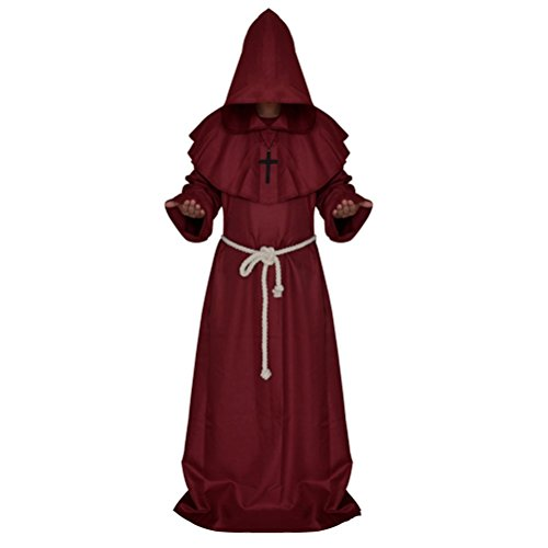 Medieval Priest Monk Robe Hooded Cap Halloween Cosplay Costume Cloak for Wizard Sorcerer - Size M (Dark Red)