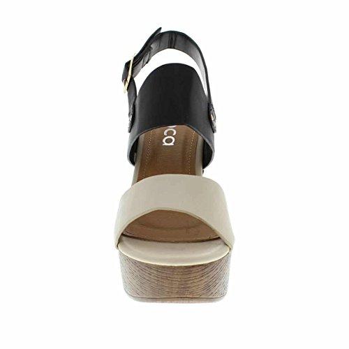 Moca Tacco Alto Donna Casual Open Toe In Ecopelle / Rivetti Borchie W In Tutto E Design Dual Tone Madden-90 Nero