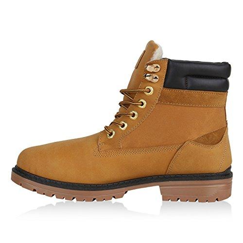 Stiefelparadies Gefütterte Herren Worker Boots Outdoor Schuhe Schnürstiefel Flandell Hellbraun Berkley