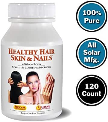 Andrew Lessman Healthy Hair, Skin & Nails 120 Count – 4000 mcg High Bioactivity Biotin, MSM, Full B-Complex Promotes Beautiful Hair, Skin and Strong Nails - No Additives. Easy to Swallow Capsules