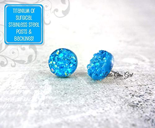 Ocean blue 10mm chunky faux druzy Cabochons 10pcs