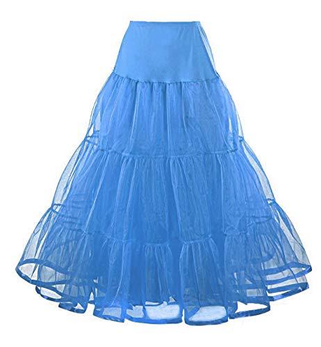 Facent Femmes Jupon Femme sous Robe Longue  Cheville Petticoat en Tulle Longueur 100cm Bleu Ciel