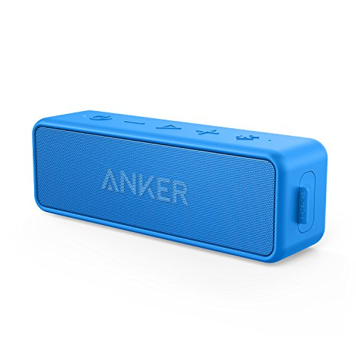 Anker SoundCore 2 12W Portable Wireless Bluetooth Speaker: Better Bass, 24-Hour Playtime, 66ft Bluetooth Range, IPX5 Water Resistance & Built-in Mic, Dual-Driver Speaker for Beach, Travel, ()