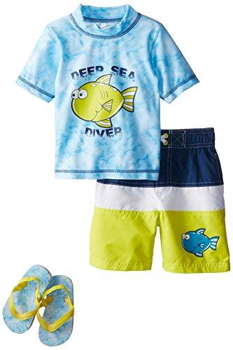 Wippette Boy's Fishy Rash Flip Flop Set, Blue, 4T