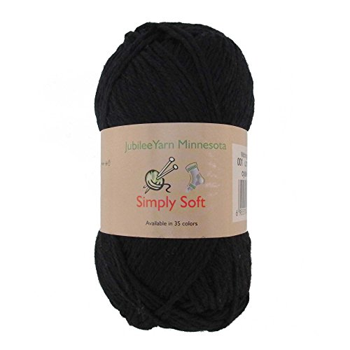 Light Weight Simply Soft Yarn 100g - 2 Skeins - 50% Cotton 50% Polyestser - Witching Hour Black - Color 001