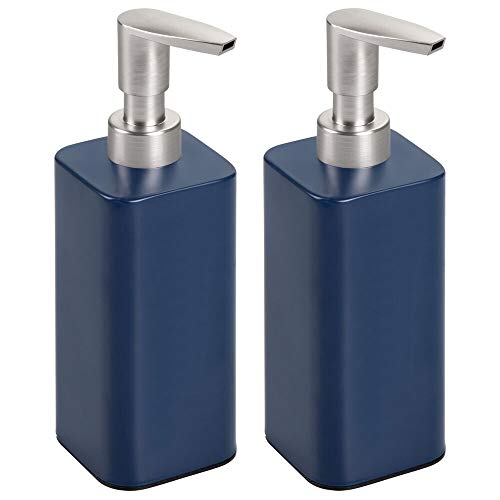 mDesign Modern Metal Square Refillable Soap Dispenser Pump Bottle for Bathroom Vanity Countertop, Kitchen Sink - Holds Hand Soap, Dish Soap, Hand Sanitizer, Essential Oils - 2 Pack - Navy Blue/Satin