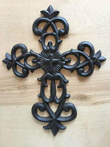 Decorative Distressed Rust Color Cast Iron Wall Cross with Hanging Loop, Fleur De Lis Design, Religious, Everyday Home Decor | 7.5 x 9.75 x 0.38-Inches | CI129 ()