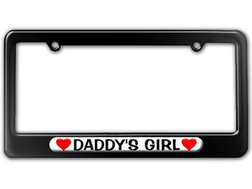 Graphics and More Daddy's Girl Love with Hearts License Plate Tag Frame - Color Gloss Black