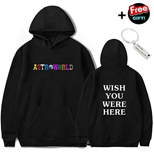 Travis Scott Astroworld Hoodies Letter Print Hoodie Streetwear Men Women Pullover Sweatshirt (CBlack, XL)
