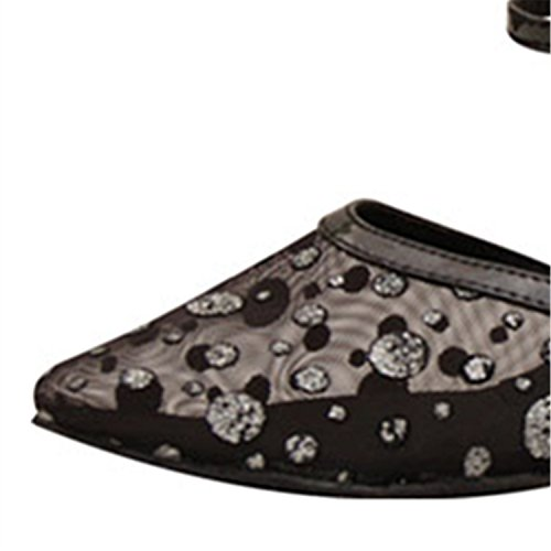 Women's Dance Shoesland W978 Ballroom Latin Round Shoes Dance Heel Toe Chunky Tango Black Salsa 1wRB5wqnS