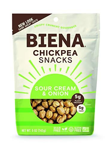 BIENA Chickpea Snacks, Sour Cream & Onion | Gluten Free | Dairy Free | Vegetarian | Plant-Based Protein (8 Pack)