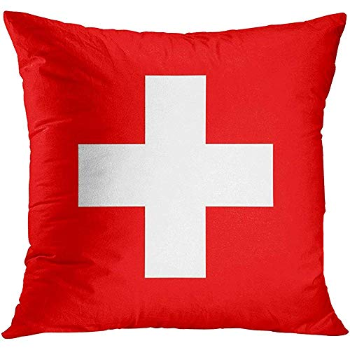 (Throw Pillow Cover Red Swiss Flag of Switzerland Accurate Dimensions Proportions and Colors White Cross Icon Decorative Pillow Case Home Decor Square 18x18 Inches Pillowcase)
