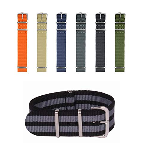 - 7 Pcs Watch Bands Watch Strap Nylon Straps with Stainless Steel Buckle-Nylon Watch Bands for Men Women,Width18mm, 20mm, 22mm (18mm)