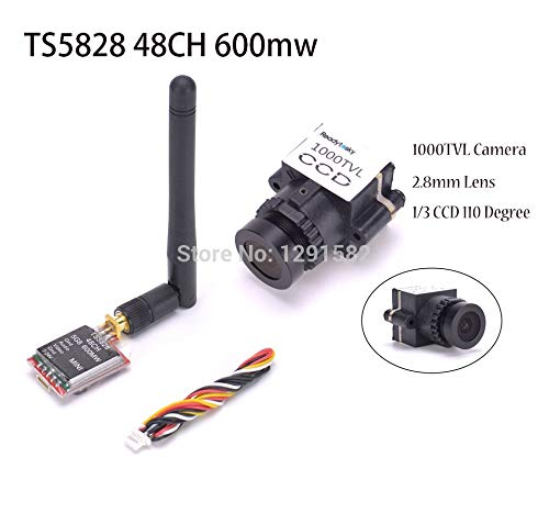 TS5828 and Camera Laliva 1000TVL 1 3 CCD 110 Degree 2.8mm Lens FPV Camera NTSC PAL Switchable TS5828 48CH 600mw Transmitter for FPV RC Racing Drone  (color  TS5828 and Camera)