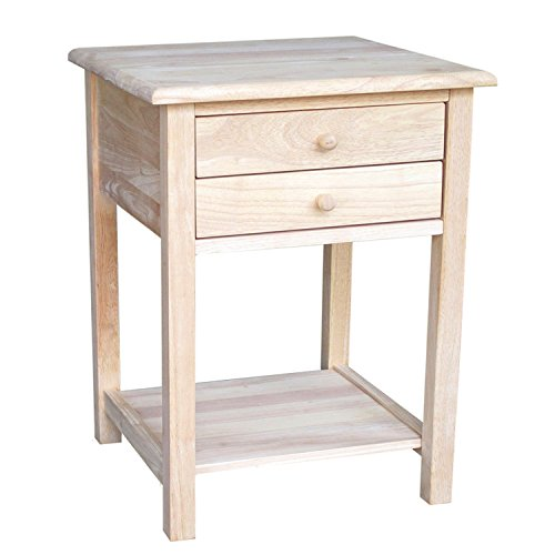 (Unfinished Lamp Table End Side Chairside Living Room Office Home Furniture Natural Wood 2 Drawers Lower Bottom Shelf for Storage Decor Display Showcase Bood Holder & eBook by Easy&FunDeals )