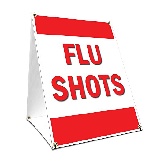 """A-frame Sidewalk Flu Shots Sign With Graphics On Each Side   18"""" X 24"""" Print Size from SignMission"""