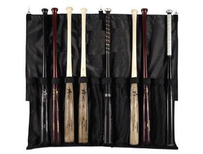 Baseball/Softball Bat Rack Travelling Dugout Bag with Fence Hooks (12 Mesh Youth/Adult Bats; Folds for Carrying)