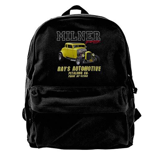 (WUHONZS Canvas Backpack Milner's '32 Deuce Coupe American Graffiti Hot Rod Rucksack Gym Hiking Laptop Shoulder Bag Daypack for Men Women )