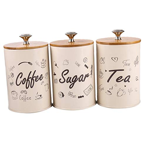 SM SunniMix 3pcs/set Kitchen Storage Jars,Sugar/Coffee/Tea Canisters, Metal Iron 1L