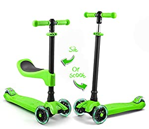 LaScoota 2-in-1 Kick Scooter with Removable Seat Great for Kids & Toddlers Girls or Boys – Adjustable Height w/Extra-Wide Deck PU Flashing Wheels for Children from 2 to 14 Year-Old (Green)