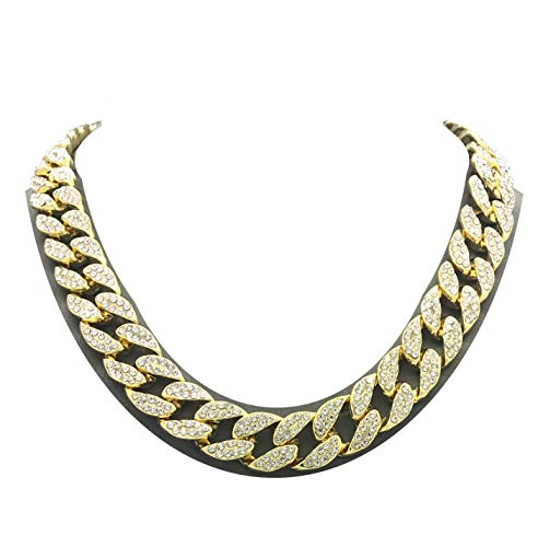 Mens Iced Out Hip Hop Gold tone CZ Miami Cuban Link Chain Choker Necklace (16