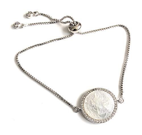 (Catholic Bracelet for Women Saint Benedict Silver Plated Medal)
