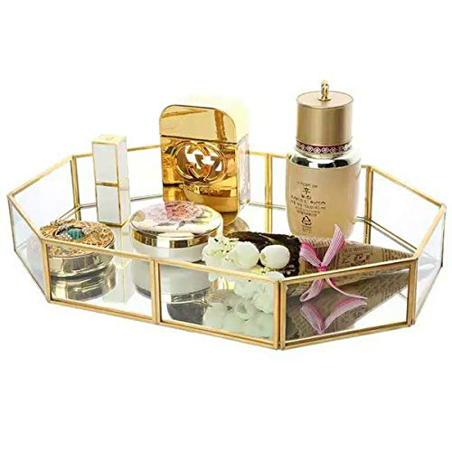 (GOLDCHEE Octagon Tray Shape Mirrored Glass Decorative Tray Metal Decorative Jewelry Tray Dresser Trinket Tray Vintage Glass Jewelry Tray(Gold))