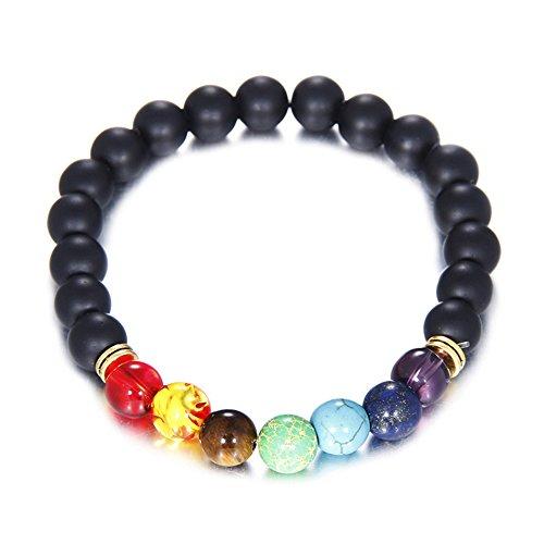 Handmade Tribal Tibet Beads 8MM Gemstone 7 Chakra Elastic Beaded Strand Black Lava Rock Buddha Vintage Bracelet ()