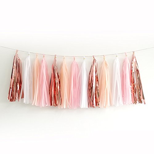 20pcs Shiny Tassel Garland Banner Tissue Paper Tassels for Wedding, Baby Shower, Table Decor,Event & Party Supplies, DIY Kits - (Rose Gold,Peach Color,Light Pink,White) - White Gold Roses