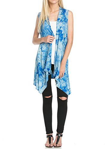 Women's Solid Color Sleeveless Asymetric Hem Open Front Cardigan -Made in USA (Medium, Sky Blue Tie Dye) (Blue Tie Sky Dye)