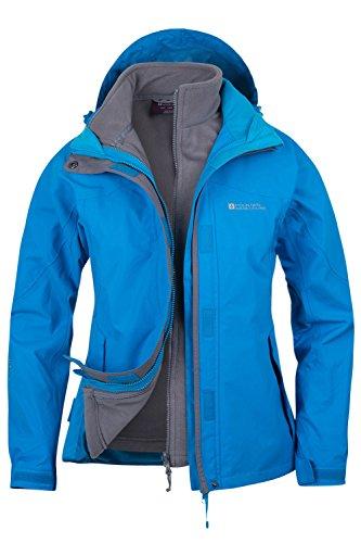 Mountain Warehouse Damen Storm 3 In 1 Wasserdichte Regenjacke Fleece Mantel Jacke Neu Multifunktionsjacke Regenjacke Türkis DE 36 (EU 38)