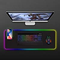 FANPING RGB Gaming Mouse Pad, Wireless Charging Illuminated Mouse Pad, Large Mouse Pad with 14 Lighting Modes, Waterproof Anti-Slip Rubber Base Computer Keyboard Mouse Mat for eSports, Office, Gamer