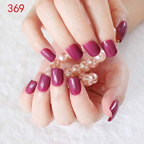 Mei&ling 24Pcs Flat Top Fake Nail Candy Red Navy Nude Pink Acrylic False Nail Full Cover Nail Tips Manicure Tools 369