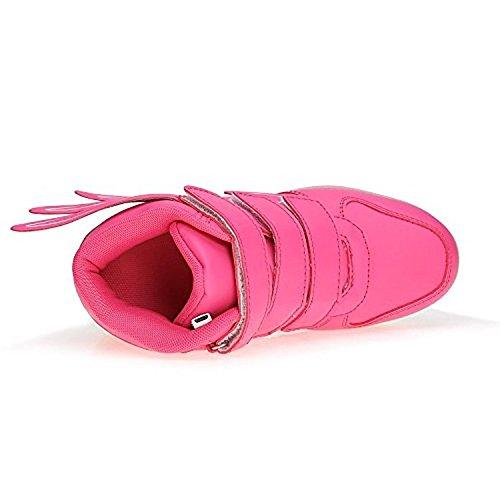 luckfugui Kinderweihnachtskleinkind-Mädchen-Mädchen LED beleuchtet Schuhe 11 Farben-hohe Spitzen-blinkende Turnschuhe kühles Licht, Hiphop-Schuhe, Straßentanz-Schuhe Rosa