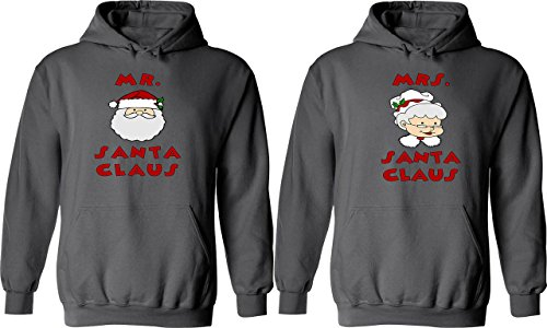 [Mr. & Mrs. Santa Claus - Matching Couple Hoodies - His and Her Love Sweaters] (Cheap Mrs Claus Outfit)