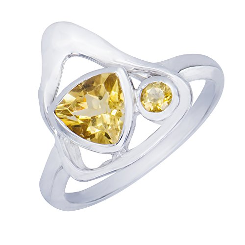 Dazzling GenuineTriangle Citrine Natural Gemstone Sterling Silver Trilliant Shapes Jewelry Womens Ring  8