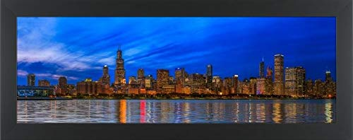Easy Art Prints Panoramic Images's 'Chicago Skyline with Cubs World Series Lights Night, Lake Michigan, Chicago, Cook County, Illinois, USA' Premium Framed Canvas Art - 36