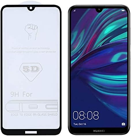 Linmatealliance 25 PCS 9H 5D Full Glue Full Screen Tempered Glass Film Phone Screen Protector for Huawei Y7 2019 // Enjoy 9