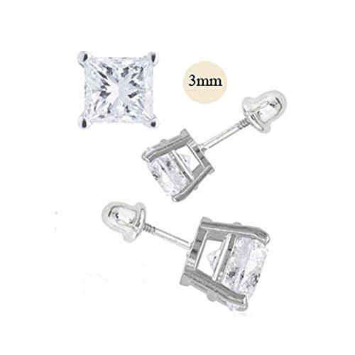 14K White Gold 3mm Princess Cut Simulated Diamond Stud Earring Set on Prong Setting, Screw Back Post -