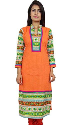Indias de Bollywood de mujeres de origen Kurti ropa de diseño de la túnica vestido casual naranja