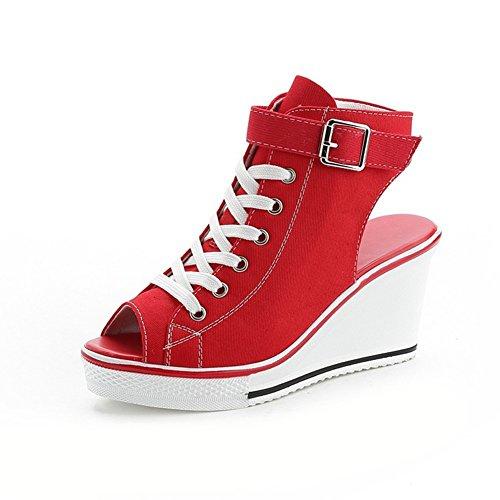 Boca Rojo Color Sandalias Zapatos Zapatos Lona de Zapatillas Punta Sandalias 2018 Zapatos de de Verano Primavera Mujer de tamaño Lona Lona y Abierta de 35 Pescado Damas Hueca de qw44arFH